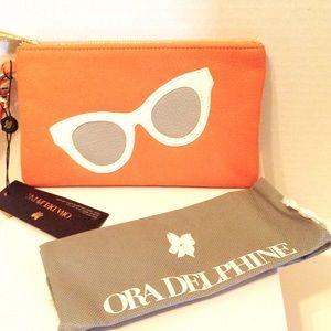 Ora Delphine Leather Wristlet/Glass Case NWT